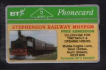 Phonecards BT Telephone card  Stephenson Railway Museum #102